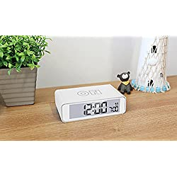 Smart Turn ON / OFF Snooze Light Sensor Digital Alarm Clock (White)