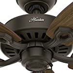 "Hunter builder elite indoor ceiling fan with pull chain control, 52"", new bronze 20 classic ceiling fan: the traditional builder elite traditional fan comes with harvest mahogany reversible blades that will keep home interior and exterior current and inspired; measures 52 x 52 x 11. 27 inch multi-speed reversible fan motor: whisper wind motor delivers ultra-powerful airflow with quiet performance; change the direction from downdraft mode during the summer to updraft mode during the winter pull chain control: turn the bronze ceiling fan on/off and adjust the speed quickly and easily with the pull chains"