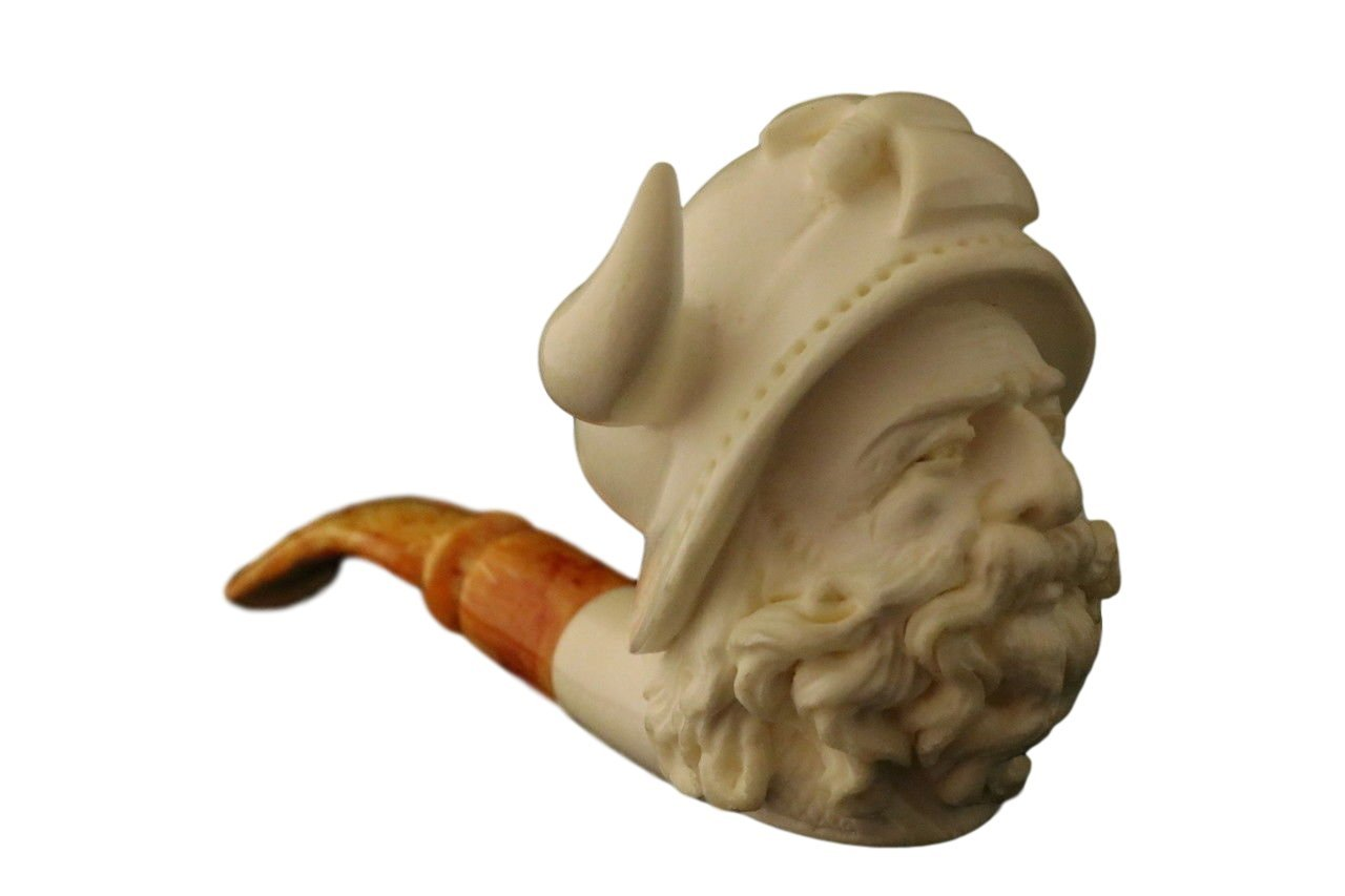 Meerschaum Pipe - Viking from Master Carver Cevher - Tobacco Smoking Pipe Hand Made from the Finest Block Meerschaum - New