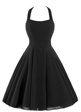 Bridal_Mall Damen Kurze Weinlese Halter Ansatz elegantes Abendkleid ...