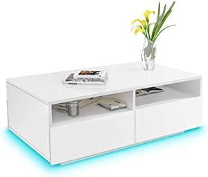 High Gloss Coffee Table White Modern Rectangle with LED Lights, White Side Sofa End Table with 4 Drawers and 2 Open Shelves for Living Room Home Office - 33.46x22.04x13.77 Inch