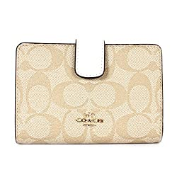 Coach Signature PVC Medium Corner Zip Wallet Light Khaki/Chalk F54023