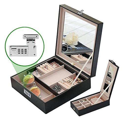 Combination Lock Women Travel Jewelry Box Organizer with Large Mirror 2 Trays 23 Separate Compartments Black