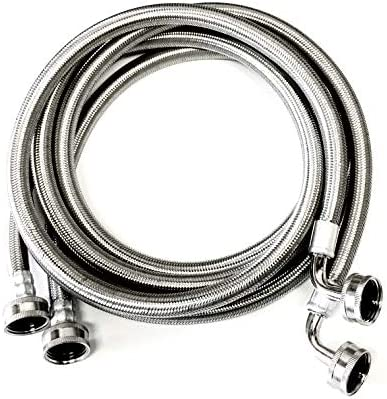 プレミアムステンレススチール編みワッシャーホース 2パック - 6フィート 鉛フリー破裂防止インレット供給ライン - 90度エルボー接続