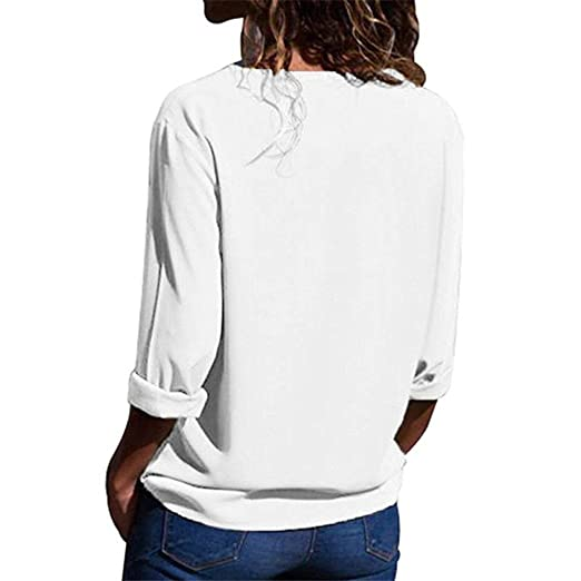 Youngh 2018 New Womens Blouses Shirts Women Plus Size T-Shirt Deep V-neck Sexy Tops Chiffon Solid Blouses Office Shirts Plain Roll Sleeve Blouse Casual ...