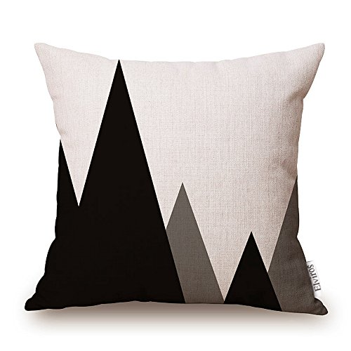 Elviros Cotton Linen Home Decorative Throw Pillow Case Cushion Cover for Sofa Couch, Black Geometric Lines, 18