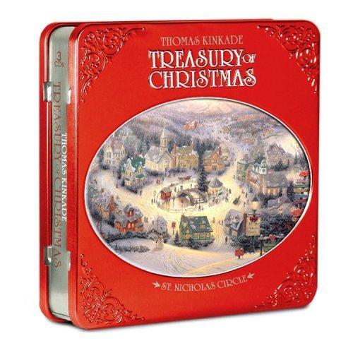 - Thomas Kinkade - Treasury of Christmas Collector Set - St Nicholas Circle in Holiday Tin with 6 BONUS Postcards