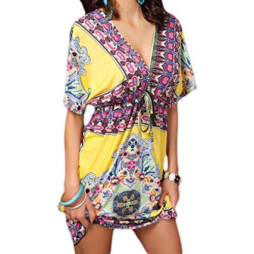 WELOVE Maxi Dress Floral Printed Bohemian Dress V Neck Short Summer Beach Dress Yellow L