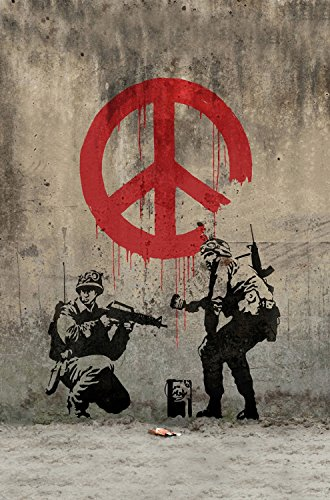 Twenty-three canvas poster Banksy Peace Art Graffiti Artist Fabric