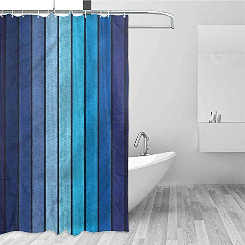 HCCJLCKS Wrinkle-Free Shower Curtain Navy Plaques in Blue Borders Travel Shower Curtain W72 xL84,Shower Curtain for Kids