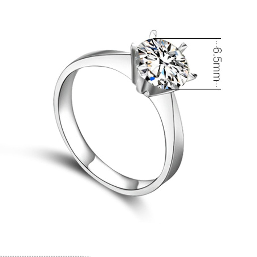 Bishilin S925 Silver 6 Claw Round Cubic Zirconia Wedding Rings And Engagement Rings Size 6.5