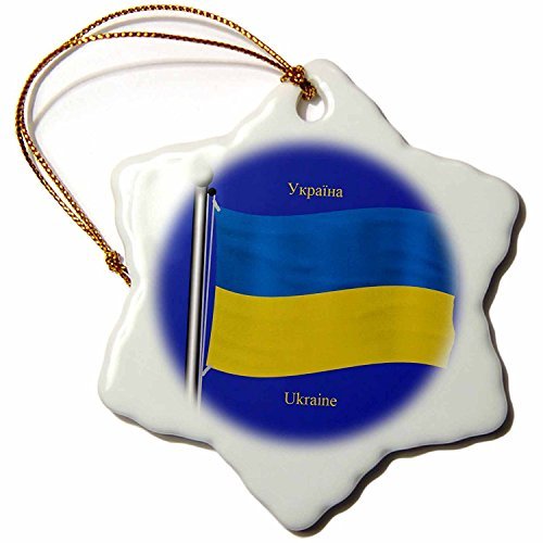3dRose orn_63215_1 The Flag of The Ukraine on a Blue Background with Ukraine in English and Ukrainian Snowflake Decorative Hanging Ornament, Porcelain, 3-Inch