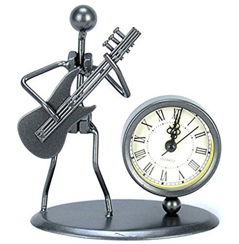 Antique Hand Made Crafts Retro Style Desk & Shelf Clock Musician Statue Metal Modern Home Office Decoration (Electric guitar )