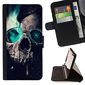 DEVIL CASE - FOR Sony Xperia Z1 Compact D5503 - Skull Green Teal Raven Crow Metal Ink Tattoo - Style PU Leather Case Wallet Flip Stand Flap Closure Cover