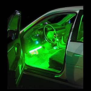 green interior led lighting kit 4 flexible led strips for inside cars trucks. Black Bedroom Furniture Sets. Home Design Ideas