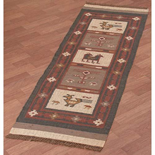 - N2 2'6 x 8' Brown Red Tribal Theme Runner Rug Rectangle, Indoor Black Grey Southwest Pattern Hallway Carpet Native American Themed Entryway Southwestern Cabin Lodge Geometric Entrance Way, Jute Wool