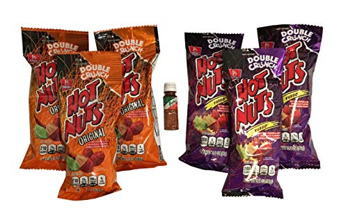 - Hot Nuts Original and Hot Nuts Fuego 3.2 oz Size Bags - 3 of Each Flavor with Free Mini Tajin Clasico Seasoning (6 Pack)