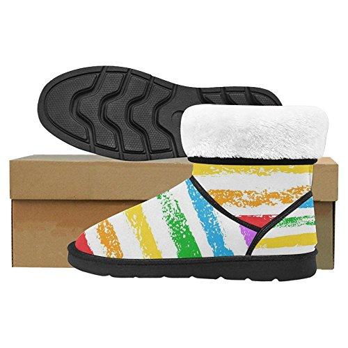 Stivali Da Neve Womens Interestprint Scarpe Invernali Invernali Dal Design Unico, Colorate, Arcobaleno, Spugna Arcobaleno Multi 1