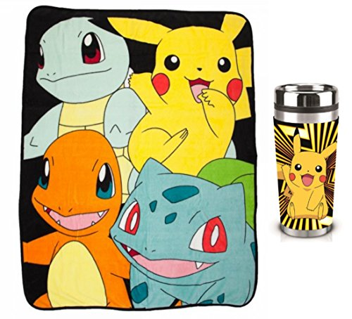 Pokemon Classic Starter Characters Throw Blanket & 16oz Pikachu Coffee Mug (Charizard Coffee Mug)