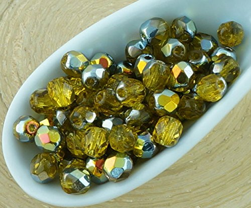 100pcs Crystal Light Topaz Yellow Clear Metallic Marea Gold Half Round Faceted Fire Polished Small Spacer Czech Glass Beads 4mm