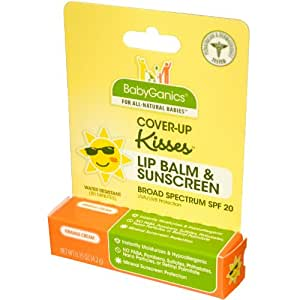 BabyGanics Kissy Face Lip Balm with SPF, Orange Cream, 0.15 Ounce, Packaging May Vary