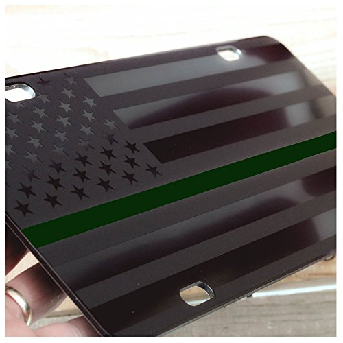 JASS GRAPHIX Military Thin Green Line American Flag License Plate Matte Black on 1/8