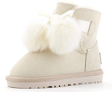fa59052086e40 YOGLY Bottes Enfant Fille Bébé Chaussures d'hiver Fourrure Chaudes  Antidérapant Boots Garçon Bottes Hiver