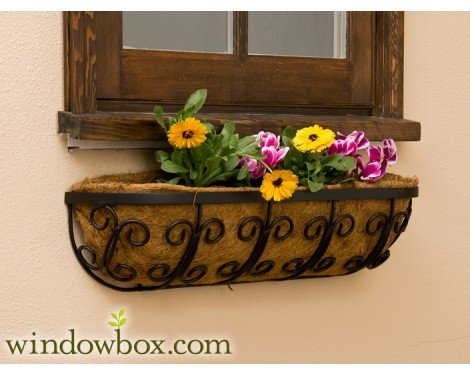 Mariposa Iron Hay Rack Window Basket w/ Coco Liner - 72 Inch by Windowbox