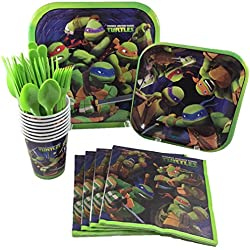 Unique Industries TMNT Teenage Mutant Ninja Turtles Birthday Party Supplies Pack Including Cake & Lunch Plates, Cutlery, Cups & Napkins for 8 Guests