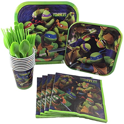 BashBox TMNT Teenage Mutant Ninja Turtles Birthday Party Supplies Pack Including Cake & Lunch Plates, Cutlery, Cups & Napkins for 8 Guests -