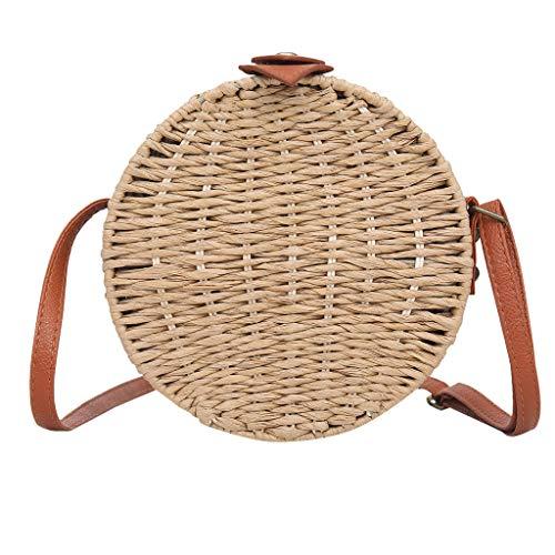 Kecar❤Round Rattan Bag, Grass Woven Straw Bag Solid Color Crossbady Bag Versatile Shoulder Bag Handbag for Summer Beach, Women, Girls, Travel