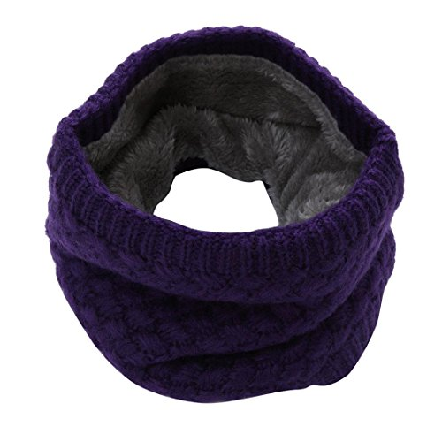 Scarf,Han Shi Fashion Man Women Warm Bufanda Knitted Collar Scarves Ring Wraps Neckpiece (L, Purple)