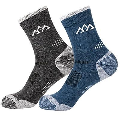 2 Pack Merino Wool Men's Hiking Socks, Half Full Thickness For Trekking