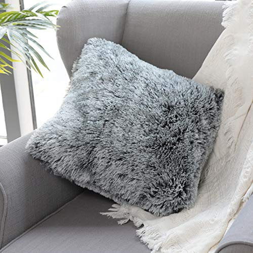 Uhomy Home Decorative Luxury Series Super Soft Faux Fur Throw Pillow Cover Cushion Case for Sofa Bed Chair Car Gray Ombre 18x18 Inch 45x45 cm, Single (Single Throws Bed)