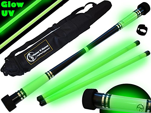 Flames N Games MOONSHINE Glow Devil Stick Set + Wooden Sticks + Travel Bag! Juggling Devil sticks]()