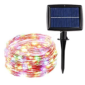 Icicle Super Bright Solar Christmas Lights, 33ft 100 LED