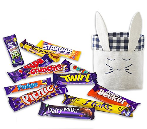 12 British Cadbury Chocolates by The Yummy Palette | Cadbury assortment of 12 bars Flake Crunchie Picnic Freddo and more in Cute Hand embroidered gift Bunny Basket