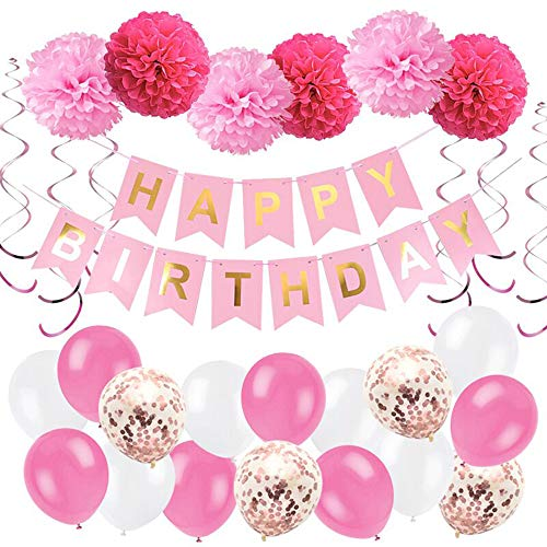 (YUMMAYEE Girls Paper Pompoms Latex Balloons Spiral Decoration Garland Banner for Home Decor Birthday Decoration Supplies Party Decoration ...)