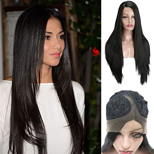 MERISIHAIR Synthetic Lace Front Wig for Women Black Color Long Silk Straight Empress Wigs Heat Resistant Fiber 26 -