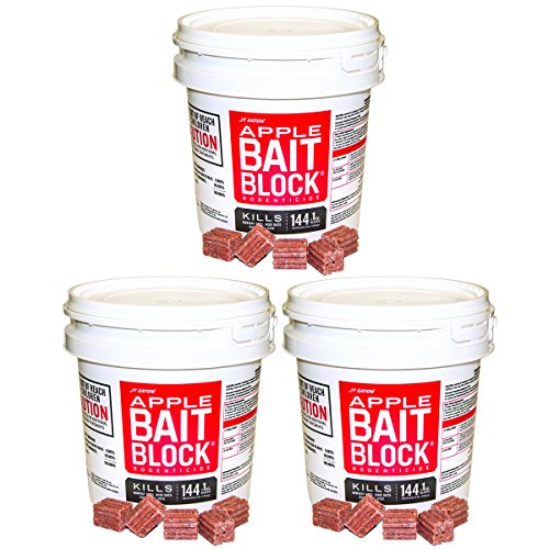 JT Eaton 709-AP Bait Block Rodenticide Anticoagulant Bait, Apple Flavor, For Mice and Rats (Pail of 144), 3 Buckets by J T Eaton