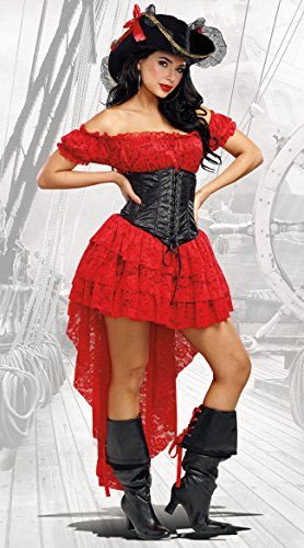 Dreamgirl Women's Pirate Wench, Red/Black, S -