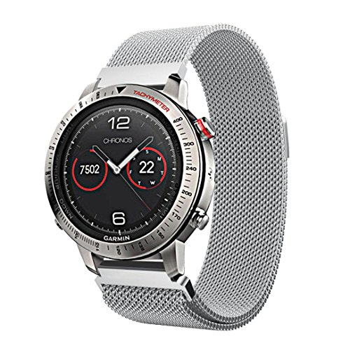 Outsta For Garmin Fenix Chronos Milanese Magnetic Loop Stainless Steel Band Silver by Outsta