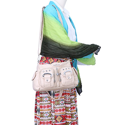 Zippers Women Barcelo Shoulder Bags Multi Pockets Top Purse Beige Angel 3 Handbags Mini PU Leather zHCIFqwnI