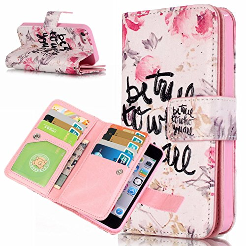 Voguecase® für Apple iPhone 5 5G 5S hülle, Kunstleder Tasche PU Schutzhülle Tasche Leder Brieftasche Hülle Case Cover (be true) + Gratis Universal Eingabestift