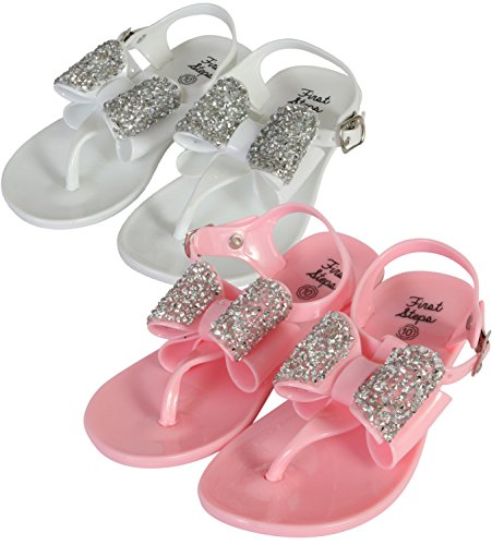 3c9c422e1df7 first steps Girls 2 Pack Jelly Thong Sandals with Jewel Bow