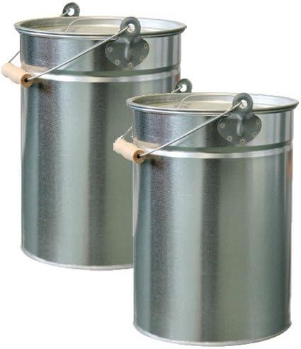 Anzahl:2 St/ück Kohleneimer rund verzinkt 14 Liter Kohleeimer Ascheeimer Eimer Ascheneimer