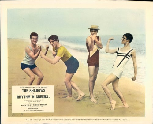 [RHYTHM N'GREENS THE SHADOWS IN 1920s STYLE BATHING COSTUMES ON BEACH LOBBY CARD] (1920s Beach Costume)