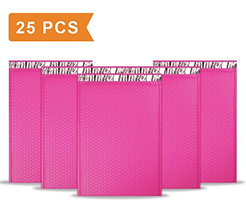 UCGOU #5 10.5x16-Inch Waterproof Envelopes Poly Bubble Mailer Pink Self Seal Padded Envelopes Bags Pack of 25