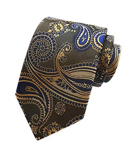 (Men's Classic Brown Yellow Navy Silk Ties Jacquard Woven Dress Business Neckties)