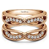 TwoBirch Criss Cross Anniversary Style Jacket Ring Guard with 0.24 carats of Cubic Zirconia in Rose Gold Plated Sterling Silver